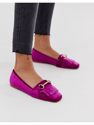 ASOS DESIGN medallion snaffle loafer flat shoes in magenta-pink