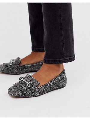 ASOS DESIGN medallion snaffle loafer flat shoes in tweed-multi