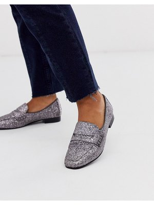 ASOS DESIGN membership loafer flat shoes in silver glitter