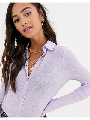 ASOS DESIGN mesh button shirt in lilac-purple