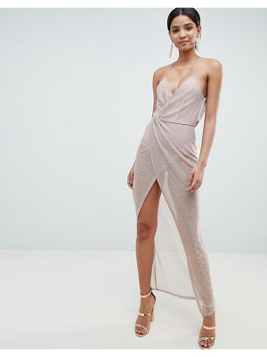 ASOS DESIGN metallic drape maxi dress