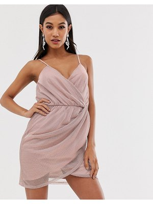 ASOS DESIGN metallic mini wrap dress with stud detail-pink