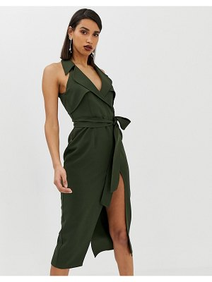 ASOS DESIGN midi belted trench dress in soft crepe-green