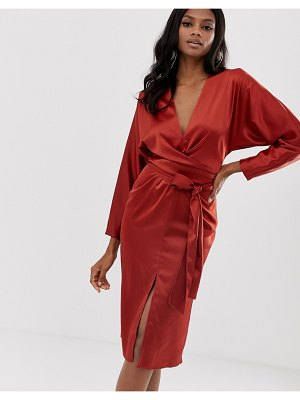 ASOS DESIGN midi dress with batwing sleeve and wrap waist in satin-brown