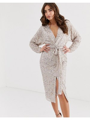ASOS DESIGN midi dress with batwing sleeve and wrap waist in scatter sequin-gold