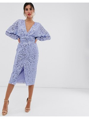 ASOS DESIGN midi dress with batwing sleeve and wrap waist in scatter sequin-blue