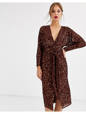 ASOS DESIGN midi dress with batwing sleeve and wrap waist in scatter sequin-brown