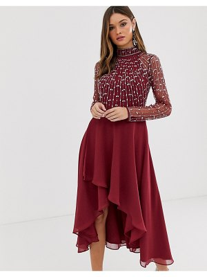 ASOS DESIGN midi dress with linear embellished bodice and wrap skirt-multi