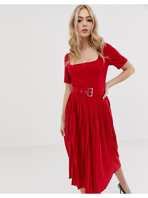 ASOS DESIGN midi dress with pleated skirt and belt-red
