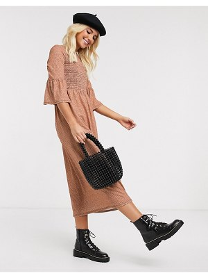 ASOS DESIGN midi dress with shirred waist in pink with black spot-multi