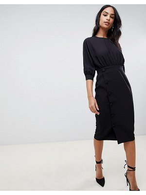 ASOS DESIGN midi pencil dress with button skirt