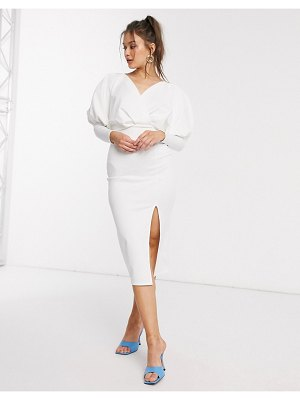 ASOS DESIGN midi pencil dress with drape batwing sleeve in ivory-white