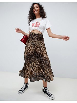 ASOS DESIGN midi pleated skirt in natural leopard print