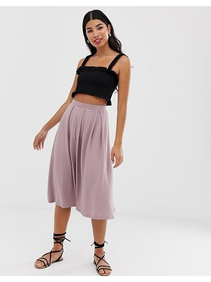 ASOS DESIGN midi skirt with box pleats-pink