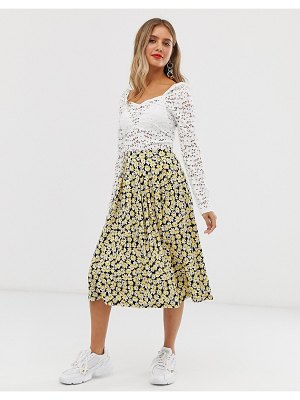ASOS DESIGN midi skirt with box pleats in yellow floral-multi