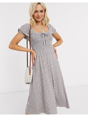 ASOS DESIGN midi sundress with shirring detail in ditsy floral print-multi