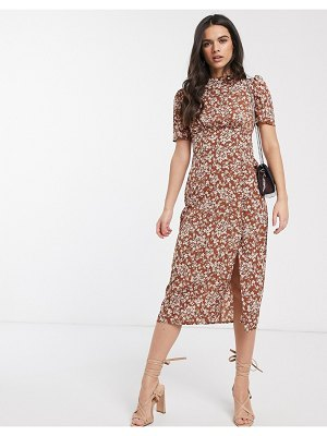 ASOS DESIGN midi tea dress with buttons in floral print-multi