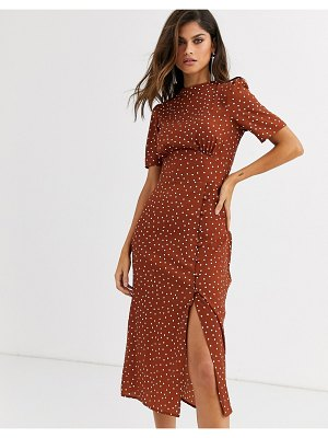 ASOS DESIGN midi tea dress with buttons in polka dot-multi