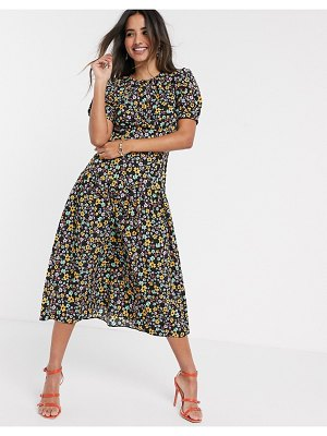 ASOS DESIGN midi tea dress with dropped waist in floral print-multi