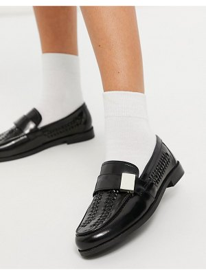ASOS DESIGN mina leather weave loafer in black