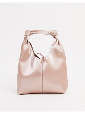 ASOS DESIGN mini clutch bag with knot strap in blush bonded satin-pink