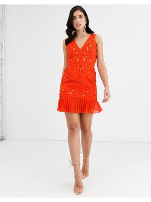 ASOS DESIGN mini dress in cutwork embroidery with pleated hem-red