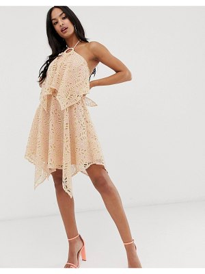 ASOS DESIGN mini dress with double layer in cutwork lace-pink