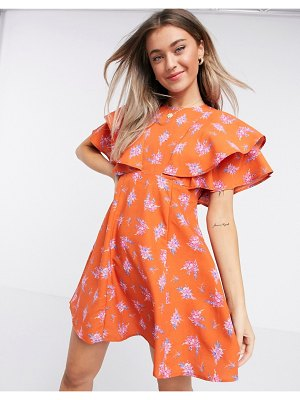 ASOS DESIGN mini dress with frill sleeves in bright floral print-multi