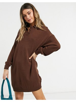 ASOS DESIGN mini dress with polo neck in brown