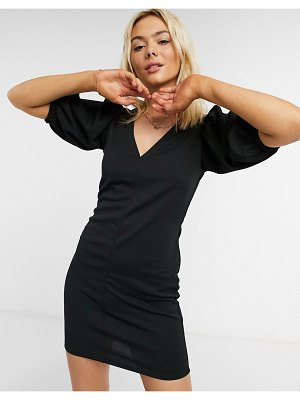 ASOS DESIGN mini dress with v neck and puff sleeve in black