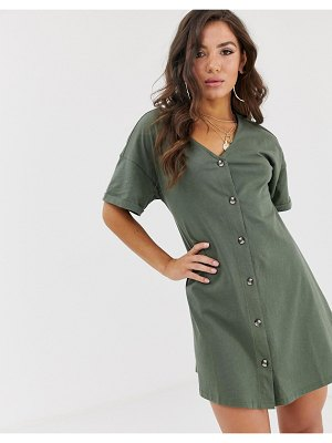 ASOS DESIGN mini slub button through swing dress-green