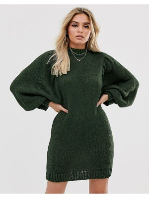 ASOS DESIGN mini sweater dress in lofty yarn with volume sleeve-green