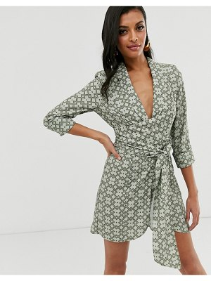 ASOS DESIGN mini tux dress with ruched sleeve in monogram print-multi