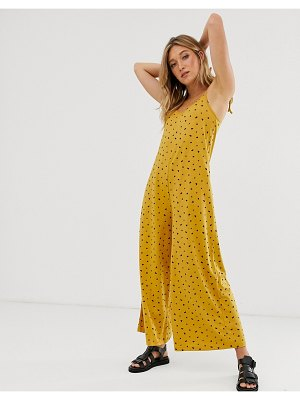 ASOS DESIGN minimal jumpsuit with tie back in linen look in yellow ditsy print