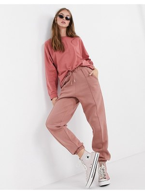 ASOS DESIGN mix & match co-ord oversized sweatpants with pintuck in rose-pink