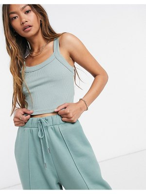 ASOS DESIGN mix & match crop tank co-ord in chunky rib in sage-green