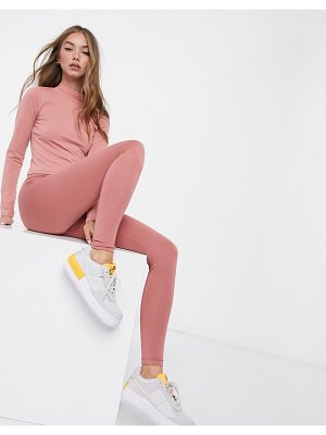 ASOS DESIGN mix & match leggings with deep waistband in rose matching set-pink