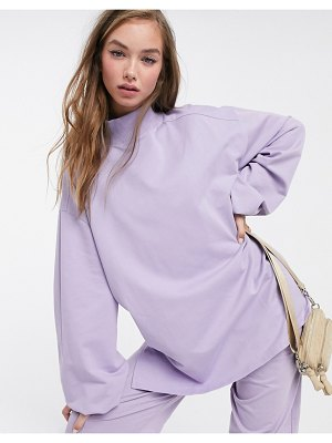 ASOS DESIGN mix & match oversized lightweight sweat co-ord with high neck and seam detail in lilac-gray