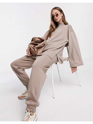 ASOS DESIGN mix & match oversized lightweight sweat matching set with high neck and seam detail in mushroom-beige