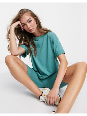 ASOS DESIGN mix & match relaxed t-shirt co-ord with roll sleeve in teal-green