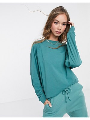 ASOS DESIGN mix & match super oversized top with wide sleeve in vintage wash in teal matching set-green