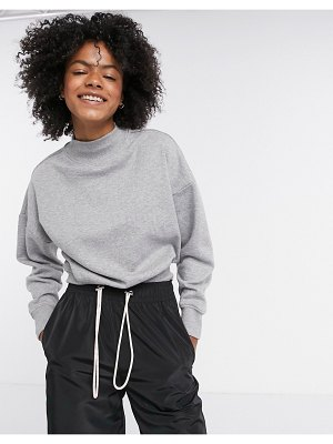 ASOS DESIGN mix & match sweatshirt with high neck in rib co-ord in gray marl