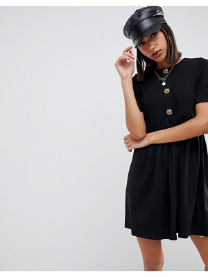 ASOS DESIGN mixed fabric mini smock dress with faux horn button