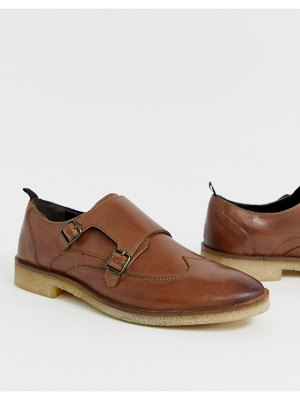 ASOS DESIGN monk shoes in tan leather