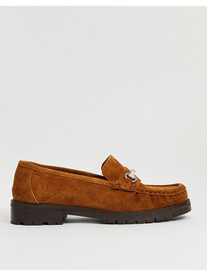 ASOS DESIGN motivate suede chunky loafers in tan