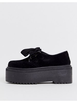 ASOS DESIGN murray chunky lace up flat shoes in black