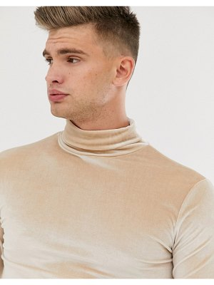 ASOS DESIGN muscle long sleeve t-shirt in velour with roll neck in beige