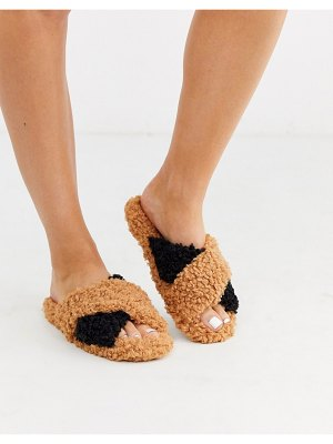ASOS DESIGN neve cross strap slider slippers in tan and black borg-multi