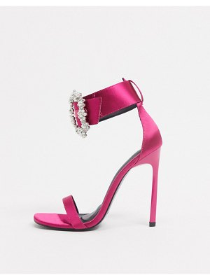 ASOS DESIGN not cuff heeled sandals with rhinestone buckle in pink