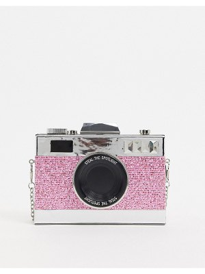 ASOS DESIGN novelty camera clutch bag in pink glitter